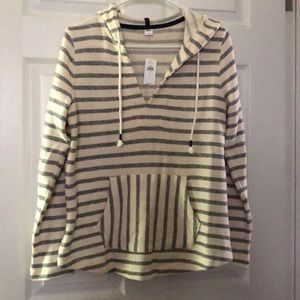 Old navy white and blue striped hoodie NWT S